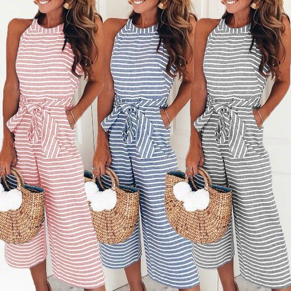 Elegant Sexy Jumpsuits Women Sleeveless Striped Jumpsuit Loose Trousers Wide Leg Pants Rompers Holiday Belted Leotard Bodysuit
