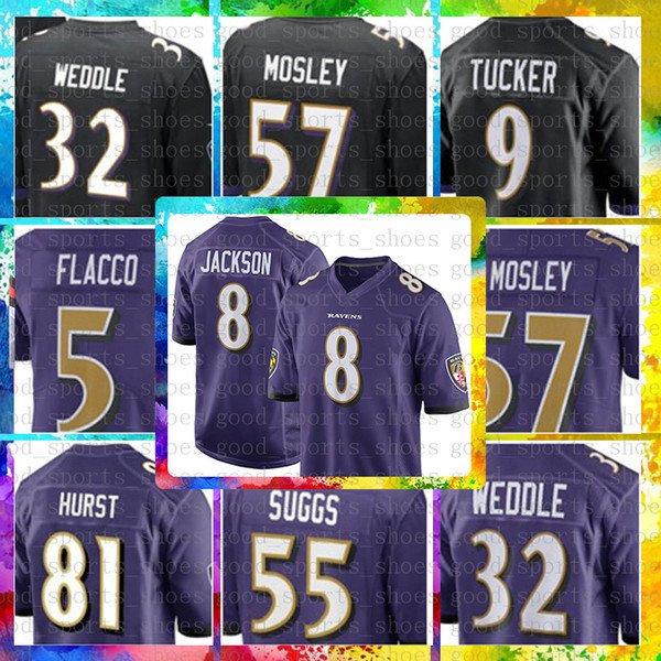 sports shoes 2ab2a 91d10 2019 Top Sale 8 Lamar Jackson Baltimore Ravens Jersey 9 Justin Tucker 32  Eric Weddle 55 Terrell Suggs 57 C.J. Mosley 5 Joe Flacco 18 Perriman From  ...