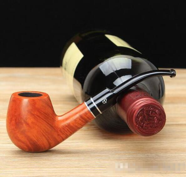 Wholesale - NewBee 10 Tools Kit Briar Wood Bent Smoking Pipe with Dual Silver Ring Decor Acrylic Mouthpiece 9mm Filter Tobacco Pipe aa0062