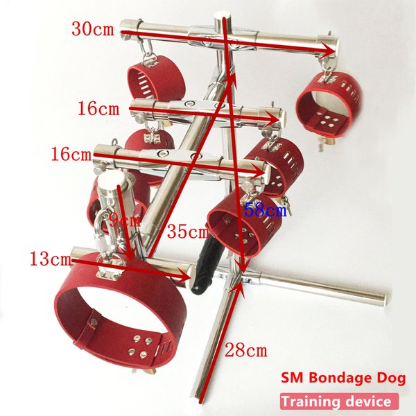 Hot sale !!! Stainless Steel Rod Portable SM Bondage Dog training device with leather anklet cuffs collar and dildo harness sex furniture