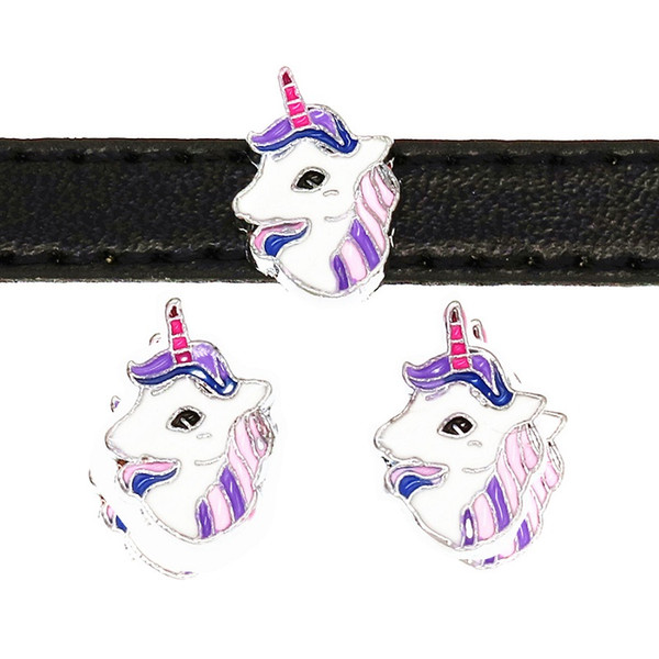10pcs 8mm Enamel Purple Horse Head Slide Charms Beads Fit DIY Accessory 8MM Dog Cat Collar Belts Wristband