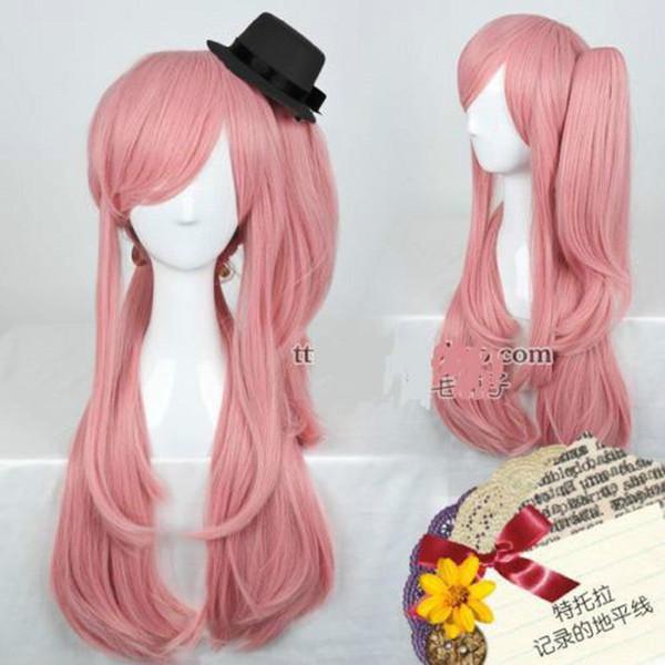 Lungo Cosplay del partito LOG luce orizzonte Indigo rosa scuro parrucca di capelli clip coda di cavallo