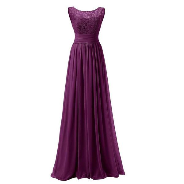 Lace Chiffon Long Bridesmaid Dresses Purple Royal Blue Pink Black 2019 Floor Length Wedding Party Dresses vestido madrinha