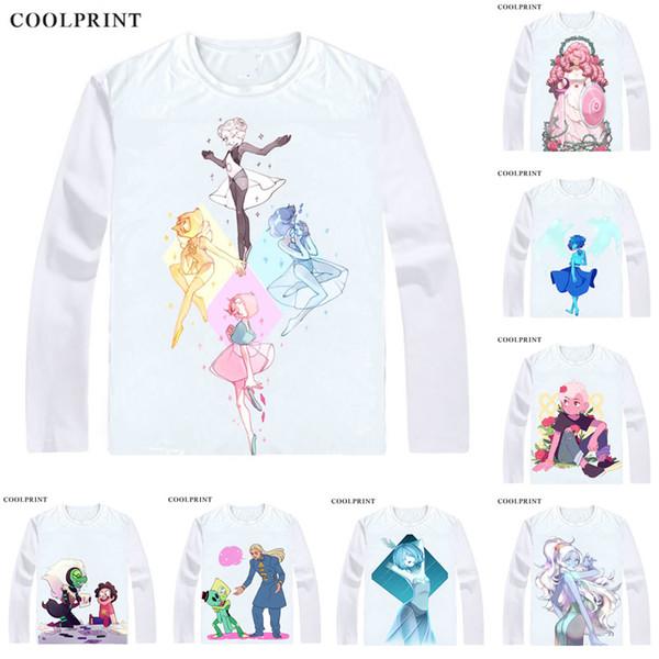 COOLPRINT Steven Universe T-Shirts Long Sleeve Shirts Anime Manga The Crystal Gems Steven Quartz Universe Garnet Amethyst Cosplay Shirt