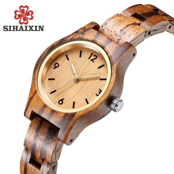 SIHAIXIN small zebra wood quartz wrist watch for women analog simple vintage unique sandal wooden band ladies watches Y18102310