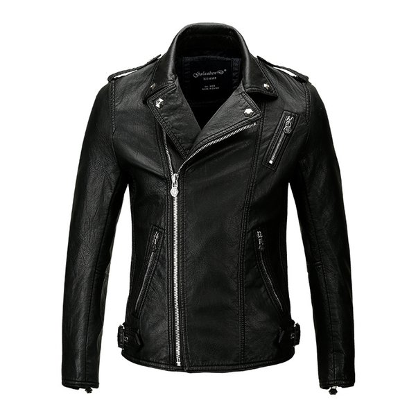 Man Leather Clothing New Coat Lapel Short Locomotive Leather russian Jacket men Tide jaqueta couro casaco masculino resident evil