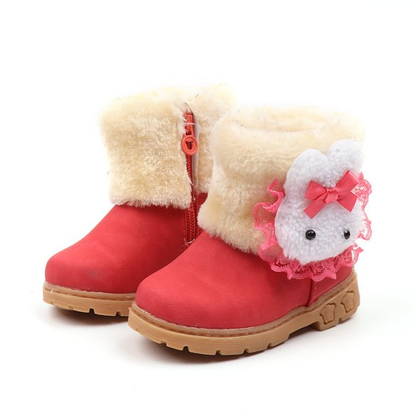 Cute winter girls boots thick warm cartoon rabbit snow ankle boots shoes kids cow muscle soled patchwork short fur boots shoes children