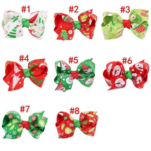 "Baby Girls Christmas Hair Clips 3"" Boutique Bows with Clips Childrens Hair Accessories Ribbon Bow Snowflake Hairpins Kids Babies"