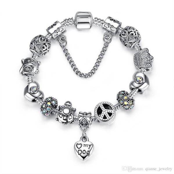 Fashion Safety Chain Silver Plated Charms Bracelet with Pet Dog Heart Beads&Animal Owl Turtles DIY Bracelet for Women Jewelry Gift