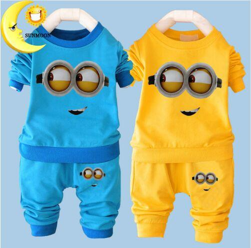 New Baby Boys Clothes Cartoon Casual Kids Minions Suit Infant Girl Long Sleeve Cotton Children Clothes Set T Shirt+Pants 2 Suits