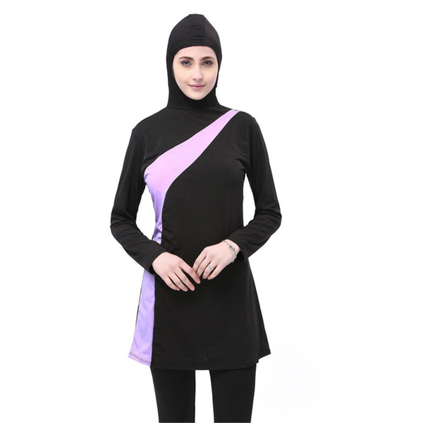 Muslim Swimming Clothes Ladies Long Sleeve Islamic Swimwear 2 Piece Modest Swimsuit Patchwork Full Cover Conservative Swim Wear