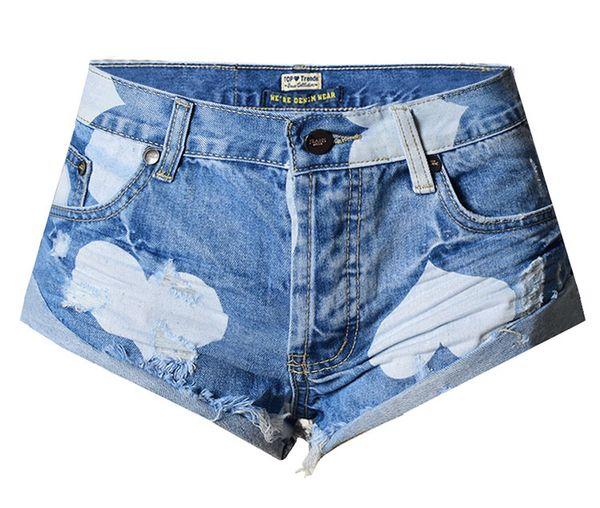 European Style Stars Print Women Fashion Frayed Tassel Denim Short Washed Sexy Low Waist Super Shorts Summer Jean Shorts