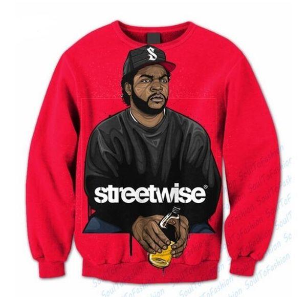 Nueva Moda Parejas 3D Imprimir Sudadera Hombres Mujeres Unisex Ice Cube Streetwise FunnyS-5XL QA87
