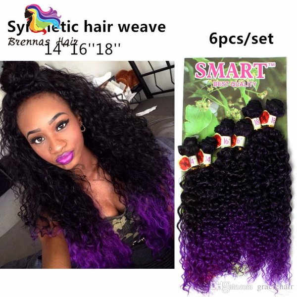Brazilian curly natural african Hair Weave Bundles 6Pcs Lot synthetic Tight Curly Hair Extensions blonde color light brown loose wave wefts