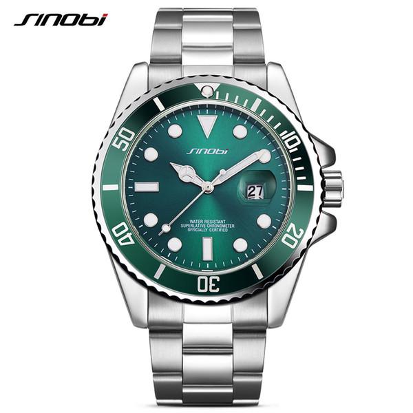 4083671f201 SINOBI Data Calendário Homens Relógios de Negócios Nova Geração Bezel  Rotativo Oyster Pulseira De Aço Relógio