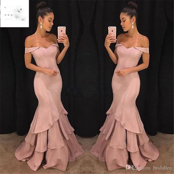 Elegant 2019 Boat Neck Mermaid Off Shoulder Evening Dresses Long Satin Short Sleeve Prom dresses for teens Women's Formal Dress Party