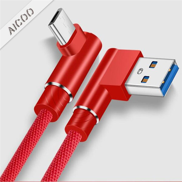 Geflochtenes Nylon-USB-Kabel L Biegen 90 Grad 2,4 A Schnelle Schnellladung 1 m Typ c Micro-USB-Kabel für i 7 8 X Android-Telefon
