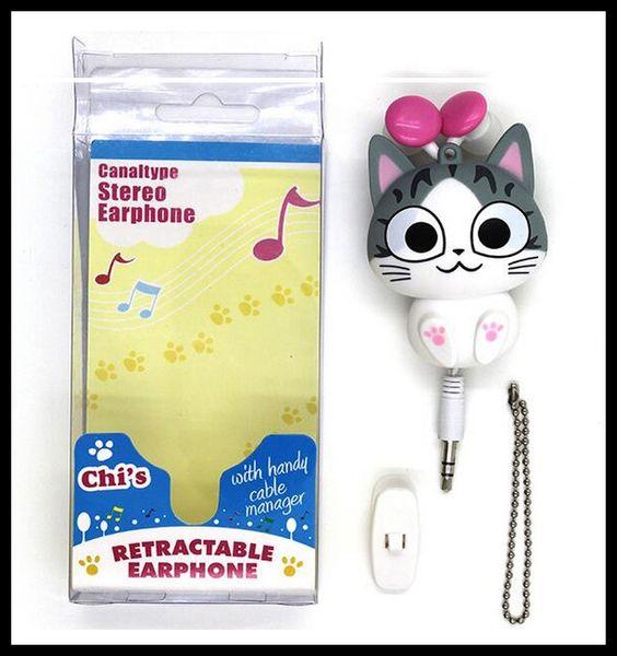 Nette Kopfhörer-Käse-Katzen-Karikatur-automatischer einziehbarer Kopfhörer-Handy-Karikatur-Sport-Kopfhörer Auriculares MP3-Player