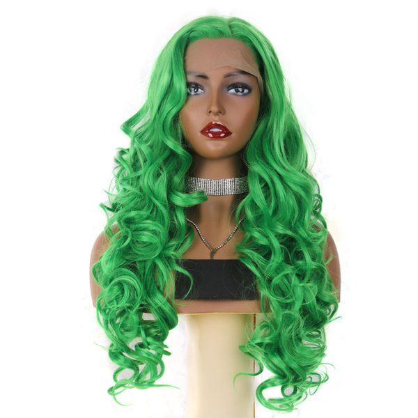 Best Synthetic Lace Front Wigs Long Body Wave Green Color Light Lace Natural Hair Frontal Free Parting Synthetic Lace Wig For White Women