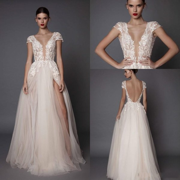 2019 Berta Beach A Line Wedding Dresses Deep V Neck Tulle Side Split Cap Sleeve Cheap Bridal Beach Open Back Berta Wedding Gowns BA5250