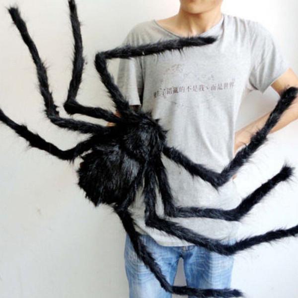 Cadılar bayramı Dekorasyon Siyah Örümcek Örümcek Cadılar Bayramı Dekorasyon Perili Ev Prop Kapalı Açık Siyah Dev 3 Boyutu 5 adet