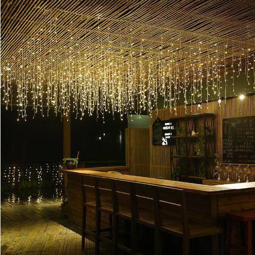 5 м 16.4ft LED Занавес Сосулька Огни Строки Droop 96Led Фея Свет Гирлянды На Рождество Новый