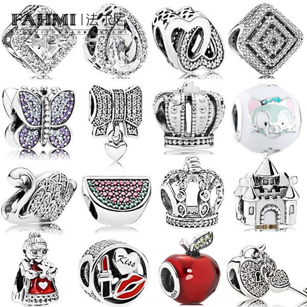 FAHMI 100% 925 Sterling Silver 1:1 Charm Watermelon Red & Green Royal Crown Sparkling Butterfly Padlock Swan Clear CZ Bow & Heart CZ LOVE