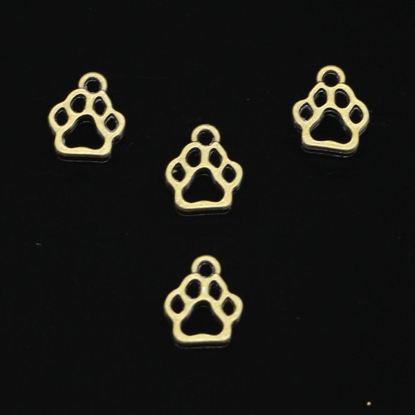 200pcs Antique Bronze Plated dog paw Charms Pendant fit Bracelet Necklace Jewelry DIY Making Accessories 13*11mm