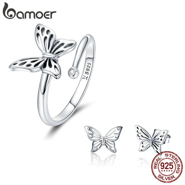925 Sterling Silver Jewelry Set Vintage Adjustable Butterfly Finger Ring & Earring Women Engagement Anniversary Valentine's Day Couple Gift