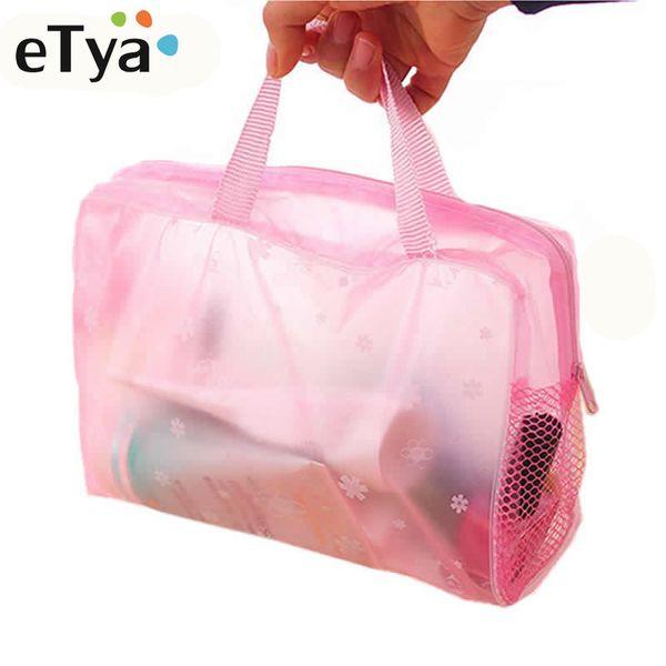 eTya 5 Colors Make Up Organizer Bag Toiletry Bathing Storage Bag women waterproof Transparent Floral PVC Travel cosmetic