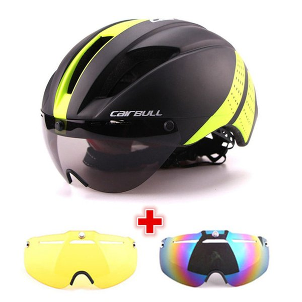 3 Lens 280g Aero Goggles Bicycle Helmet Road Bike Sports Safety In-Mold Helmet Riding Mens Speed Airo Time-Trial Cycling