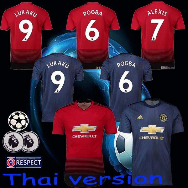 b1d28762 Manchester United Jersey 2018 2019 Man Soccer 6 POGBA 9 LUKAKU 11 MARTIAL  14 LINGARD 10