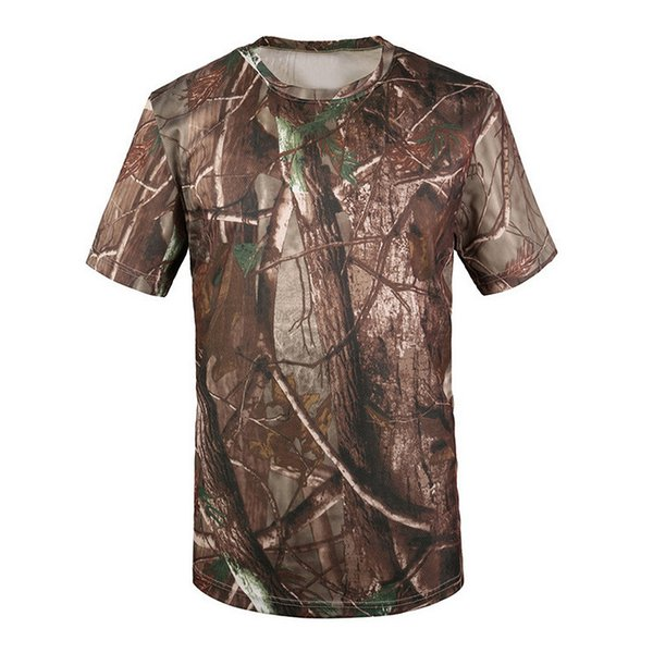 New Outdoor Hunting T-shirt Men Breathable Army Tactical Combat T Shirt Dry Sport Camo Camp Tees-Tree camouflage