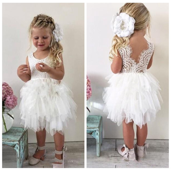 2018 Cute Wedding Flower Girl Dresses Lace Toddler Infant Baby White Ruffles Tulle Custom Cheap Short Child Formal Party Gowns