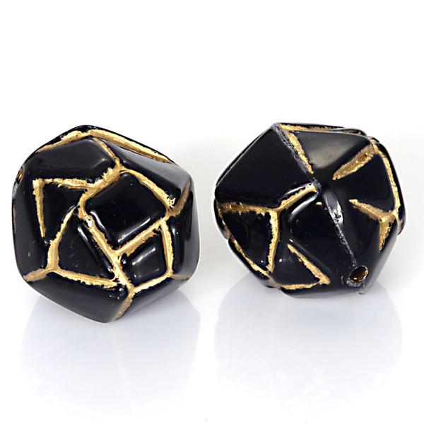 25 pcs Acrylique Antique Design Perles En Plastique Spacer Perles Avec Or Charmes Doublés Pour Les Femmes Bracelets Diy Fabrication de Bijoux