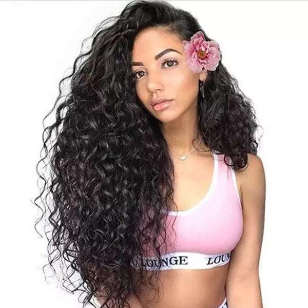 Бразильские парики с глубокими волнами для чернокожих женщин необработанные парики с кружевными фронтальными волосами человеческих волос, предварительно сшитые с детскими волосами