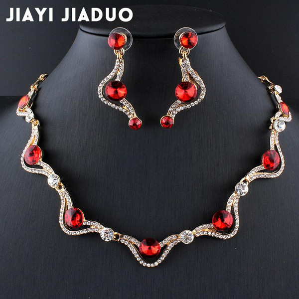 whole salejiayijiaduo Austria Red Gold-color African beads Jewelry Crystal Necklace Earrings sets Beautiful Women Wedding Jewelry Set