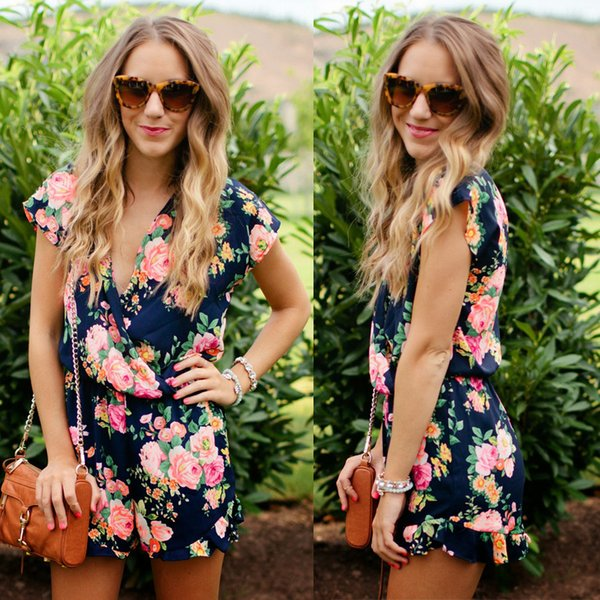 Summer Rompers Floral Print Women Casual Playsuit Fashion Bohemian Jumpsuit Ladies Beach Wear Playsuit V-neckline Overalls