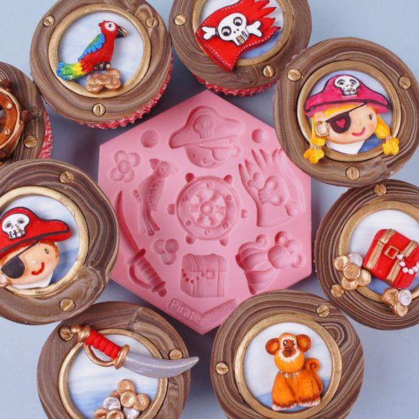 Navigation Pirates Cupcake Moule En Silicone Fondant Moule De Décoration De Gâteau Outils Gumpaste Moules Au Chocolat, Sugarcraft, Cuisine
