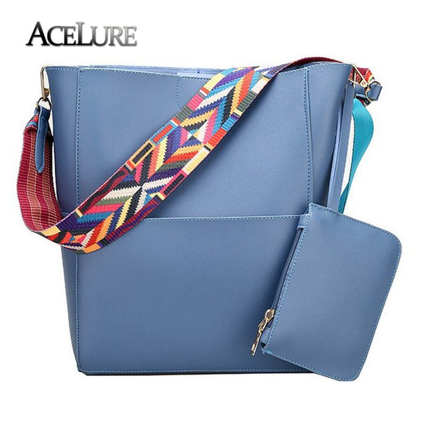 ACELURE Luxury Handbags Women Bucket Bag Brand Designer Ladies Shoulder Bag Pu Leather Gray Crossbody Bag Large Capacity Handbag