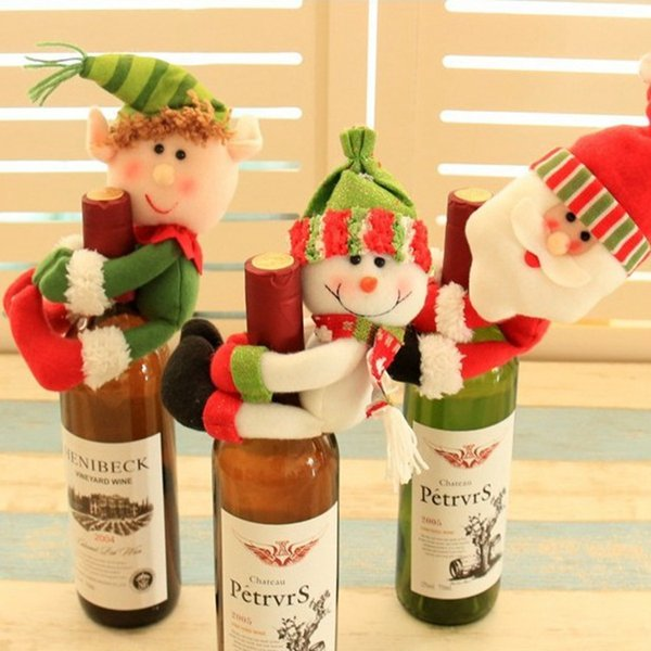 Christmas decorative Wine Bottle cap cloth doll toy Snowman Santa Claus party dinner table decorations wine bottle covers