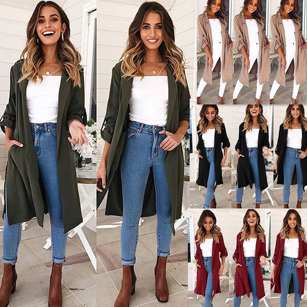 Ladies Autumn and Winter Casual Trench Coat New Long Slim Jacket Ladies' Tops Wholesale