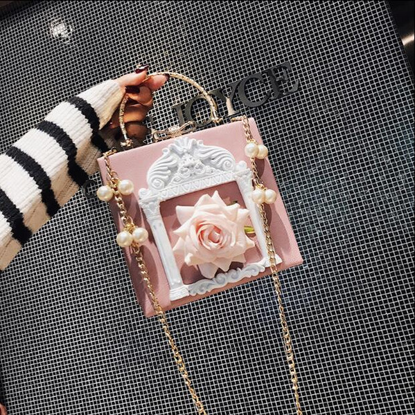 Women Japan and Korean Style soft Flap style Sequins Flowers chain Single PU Synthetic Leather handbag Black pink white blue color