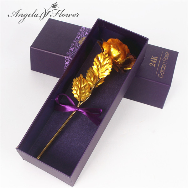 24k Gold Foil Paper Plated Rose gold leaf Wedding Supplies Valentine 's Day Birthday Christmas Gifts Decorative flowers 1 set