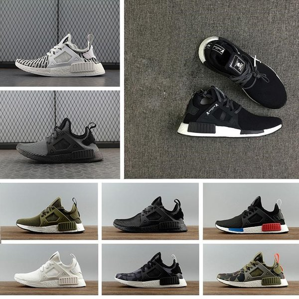 784305a533801 2018 NMD XR1 Running Shoes Mastermind Japan Skull Fall Olive green Camo  Glitch Black White Blue