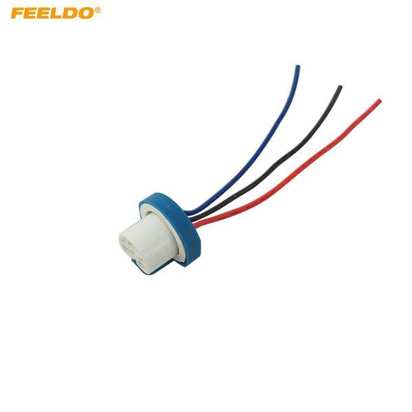 Feeldo 9007 Ceramic Socket Xenon Lamp Wiring Harness For Headlight 9007 Light Bulb Holder Connector Adapter 5462 Auto Body Part Auto Body Parts From