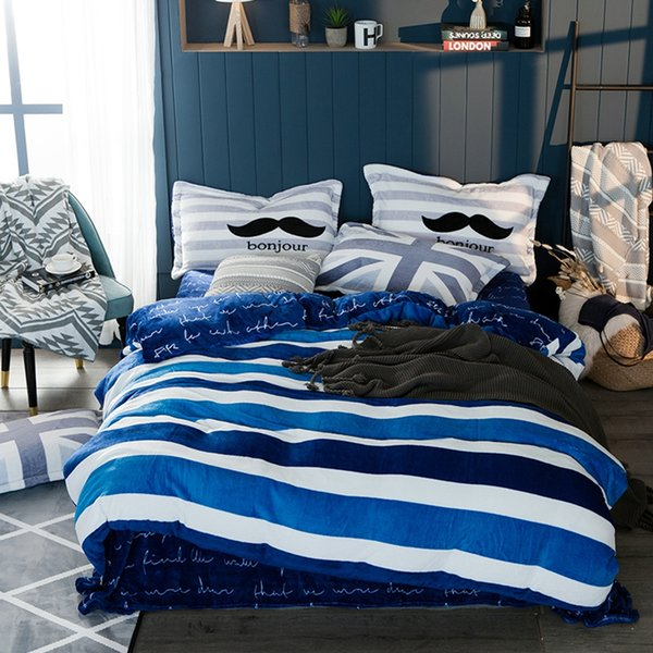 Blue and White Stripes Winter Soft Duvet Cover Set Queen King Size Fleece Bedding Set Modern Fleece Fabric Bed Sheet Pillow Case