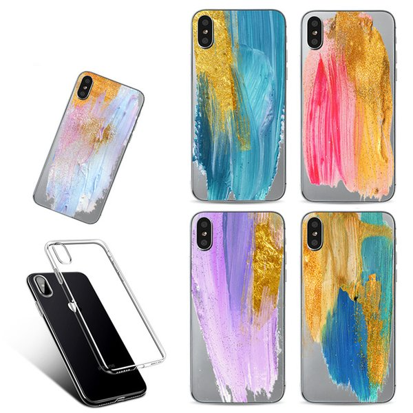 For iPhone X Creative Brush Painted Cell Phone Case Soft TPU Shell Cases Protective Back Cover For iPhone 7 Plus 8 Plus Free Shipping M10