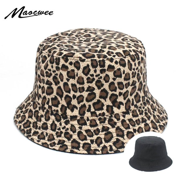Women Leopard Print Bucket Caps Comfortable Foldable Bob Fishing Hat Girl Sexy Leopard Fisherman Cap White Polo Panama Caps
