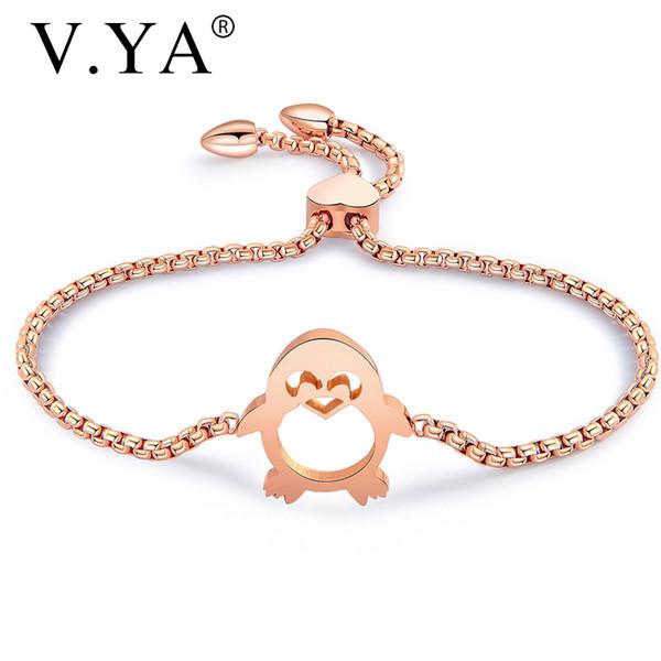 V.YA Simple Penguin Bracelet For Women Silver/Rose Gold Bangles Link Stainless Steel Adjustable Bead Bracelet For Girlfriend